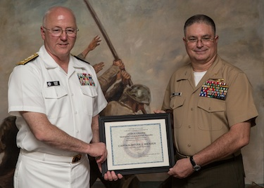 Captain Weaver (right) receiving award