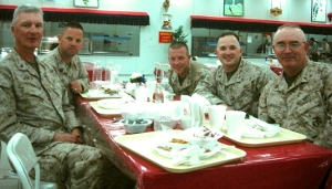 Withington at chow with fellow chaplain and Marines